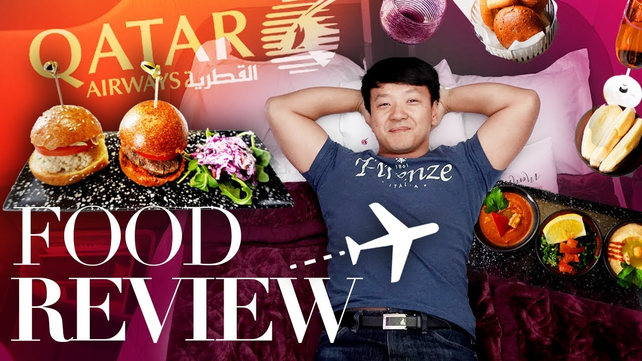 World's BEST BUSINESS CLASS! FOOD REVIEW of Qatar Airways Business Class From New York to Istan