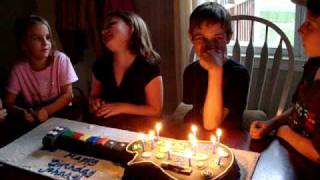 Boy uses The Force to blow out his birthday cake candles.