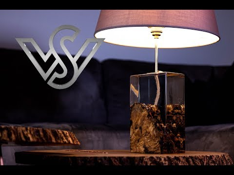 Olive root with clear epoxy resin the modern led desk lamp