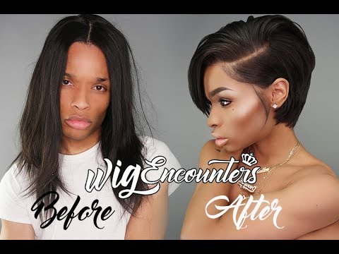 "How to Cut a 12"" full lace Wig Into Edgy short cut ( Very Beginner Friendly ) 2018"