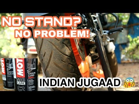 HOW TO CLEAN & LUBE BIKE CHAIN WITHOUT CENTER STAND | DIY |2019 in HINDI