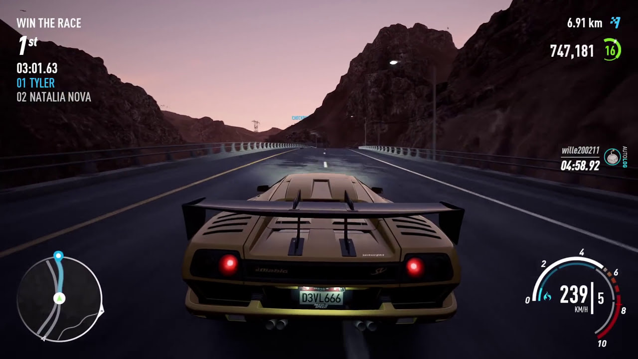 Need For Speed Payback Lamborghini Diablo Sv Vs Natalia Nova