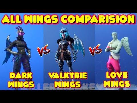 NEW VALKYRIE WINGS VS LOVE WINGS VS DARK WINGS COMPARISON IN FORTNITE