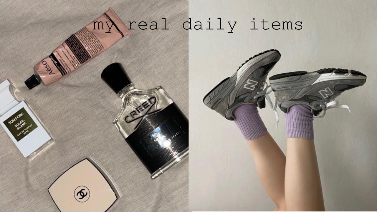 vlog. 유진쓰 브이로그   1-2월 언박싱 재구매한 찐데일리템🖤 뉴발란스993 크리드 톰포드 향수 샤넬쿠션 이솝핸드크림 my re-bought daily items