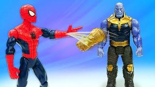 Человек Паук против Таноса! Перчатка Бесконечности у Супергероя! Онлайн видео игры для мальчиков