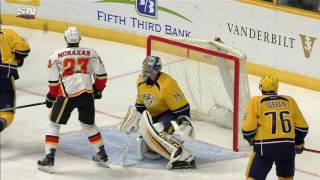 Rinne loses sight of puck, manages to make split second save