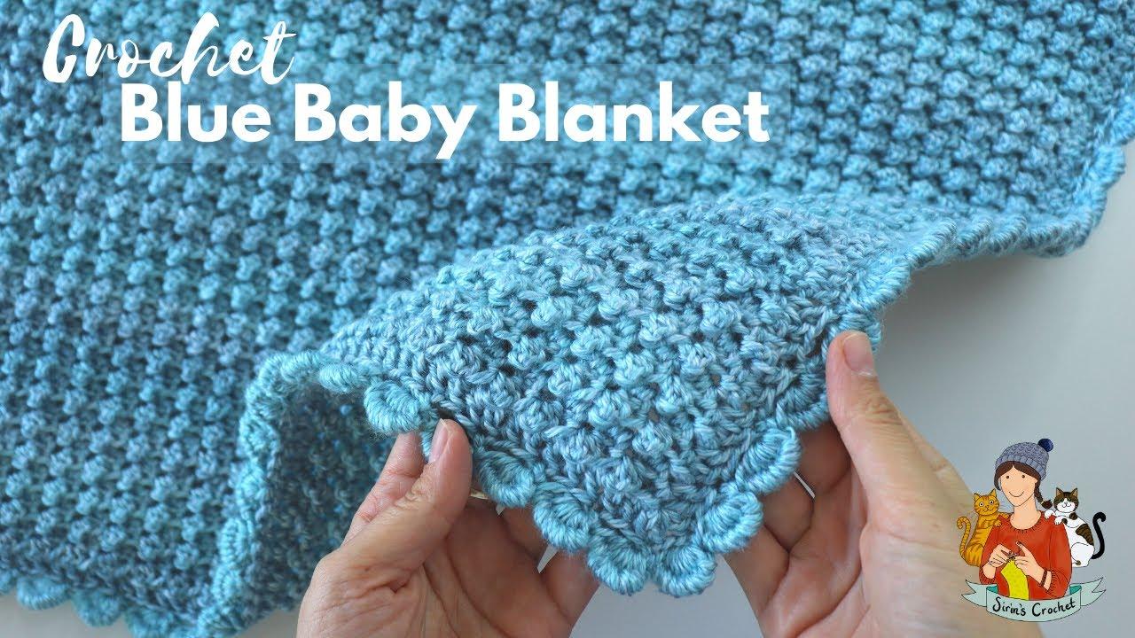 Crochet Easy Blue Baby Blanket / Beginner Friendly Tutorial