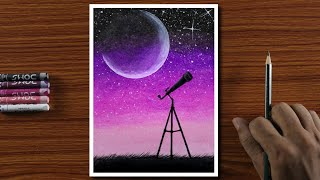 Easy Drawing for Beginners with Oil Pastels - Half Moon and Telescope Night - Step by Step