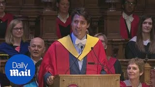 Trudeau attempts Scottish accent at University of Edinburgh - Daily Mail