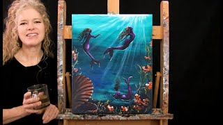 Learn How to Paint MOONLIT MERMAIDS with Acrylic - Paint & Sip at Home - Step by Step Tutorial