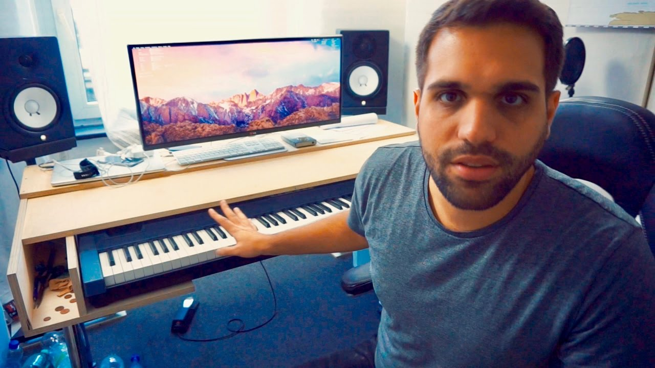 diy recording studio desk with movable keyboard cover youtube. Black Bedroom Furniture Sets. Home Design Ideas