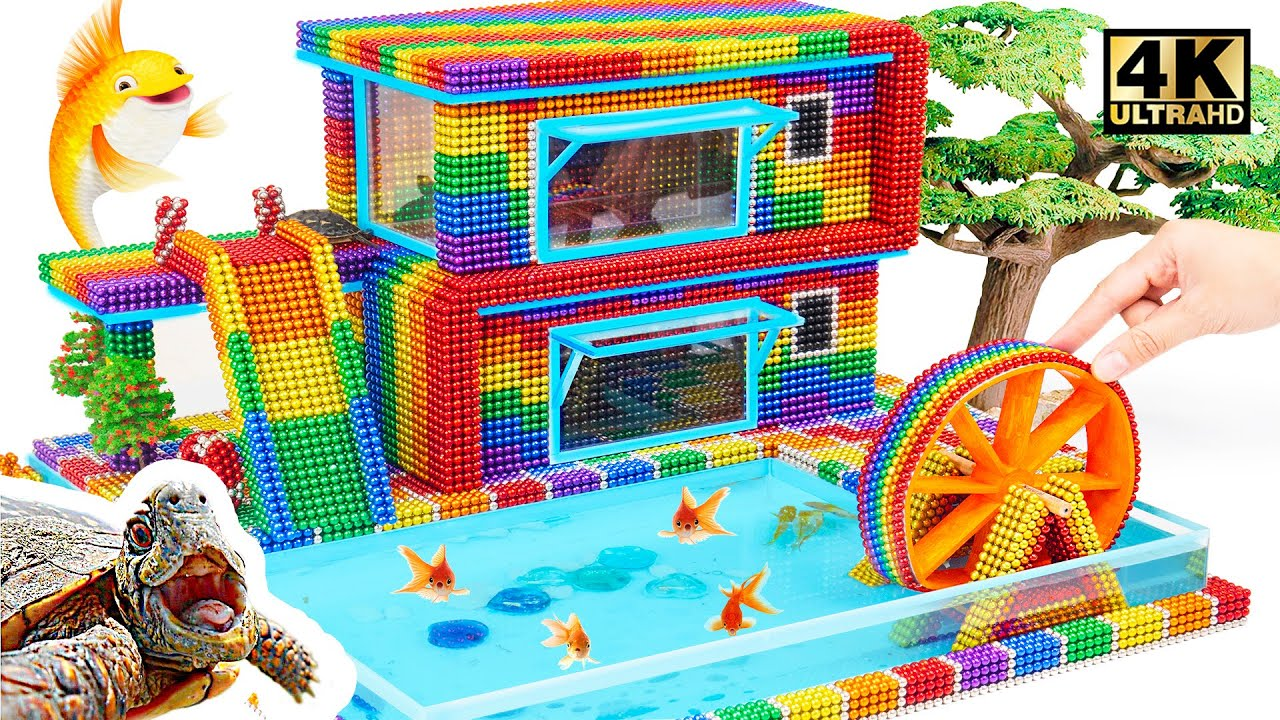 DIY - Build Waterwheel House Mega Fish Pond for Pet From Magnetic Balls Magnetic Balls (Satisfying)