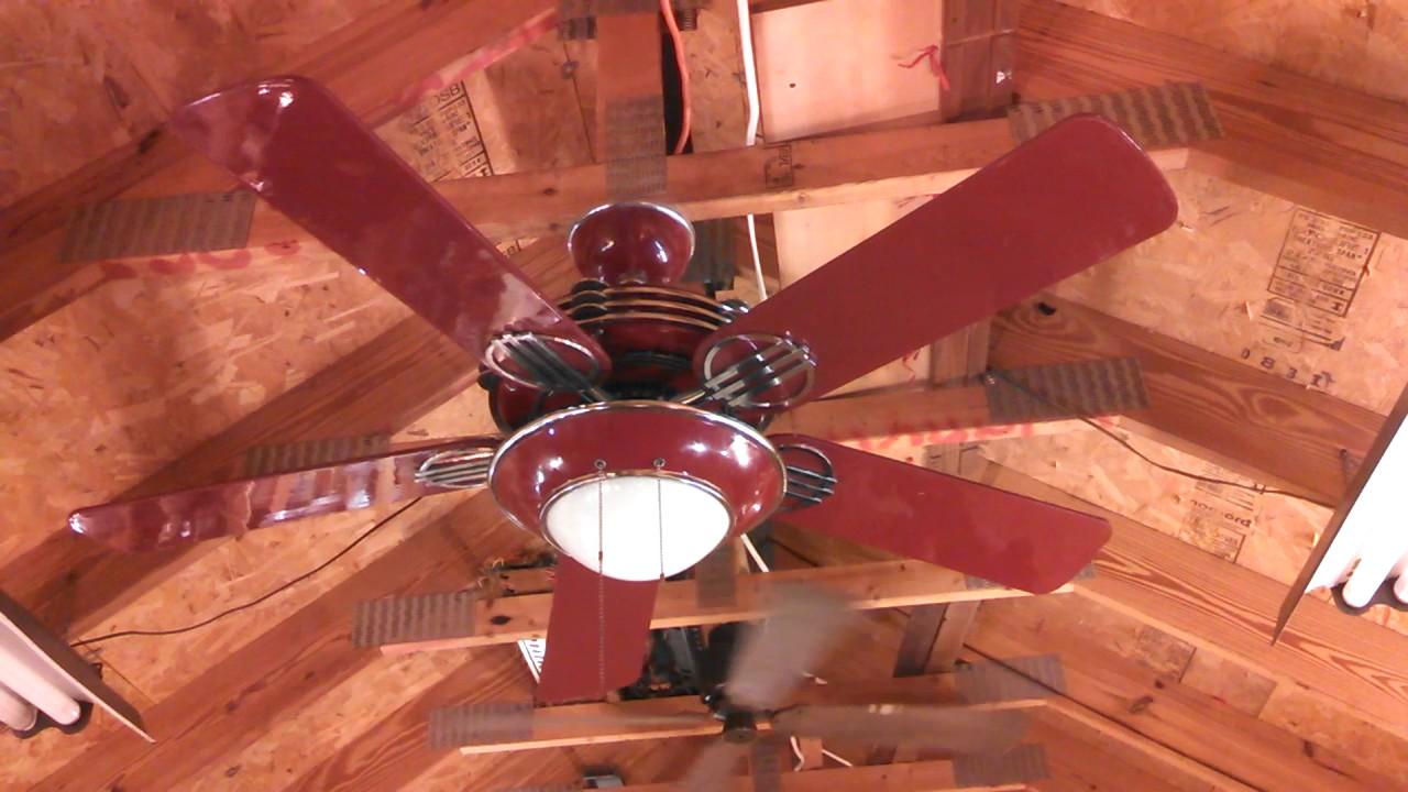 Hunter 1930s original ceiling fan model 23734 in red