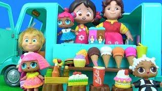 Maşanın dondurma arabası Heidi Peter Clara Niloya dondurma yiyor LOL bebek kola içiyor altına işiyor
