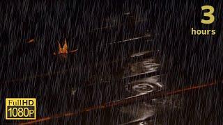 【睡眠用】夜のウッドデッキと雨の音で眠る 3時間映像