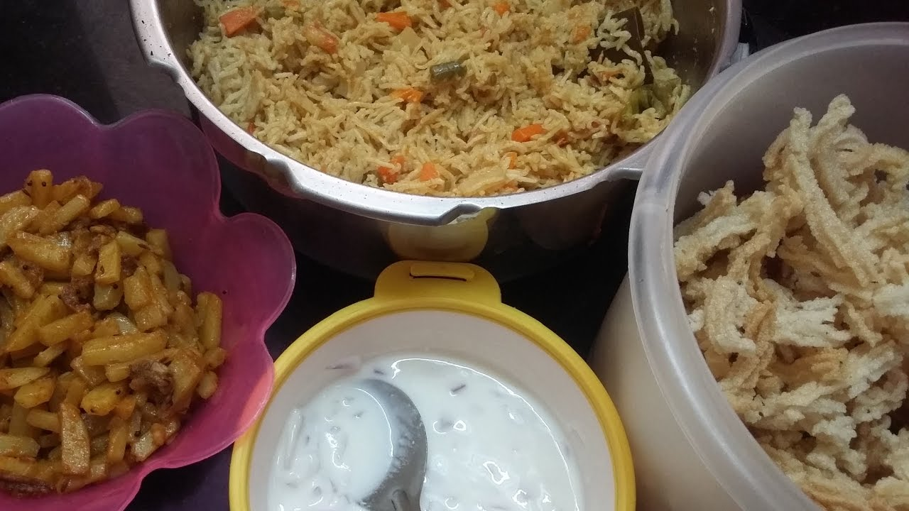 Lunch Box Recipes In Tamil Mini Meal Veg Puloa Potato Fry Onion