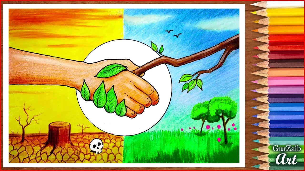 Save Nature Save Trees Drawing Poster Making Tutorial For Beginners Very Easy Step By Step Youtube