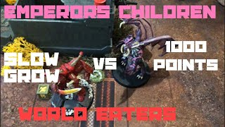 Warhammer 40k Battle Report Slow Grow Campaign  Emperors Children vs World Eaters 8th Ed 1000 Points