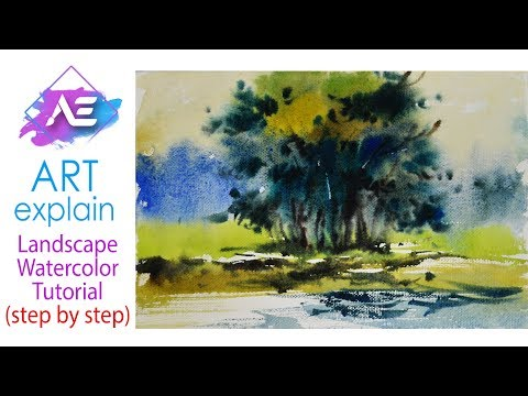 Green Tree Watercolor Painting Landscape | How to paint a watercolor landscape | Art Explain