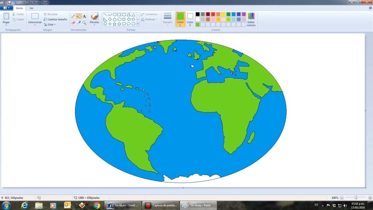 Dibuja El Globo Terraqueo En Ms Paint Planeta Tierra Youtube