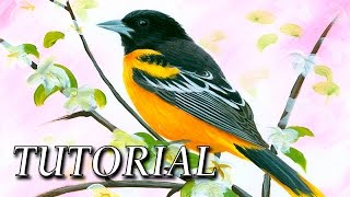 How to paint a realistic bird | Acrylic painting lesson with markers