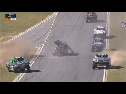 Stadium Super Trucks 2018. Race 1 Barbagallo Raceway. Gavin Harlien Big Crash