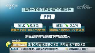 [国际财经报道]热点扫描 8月CPI同比增长2.8% PPI同比下降0.8%| CCTV财经