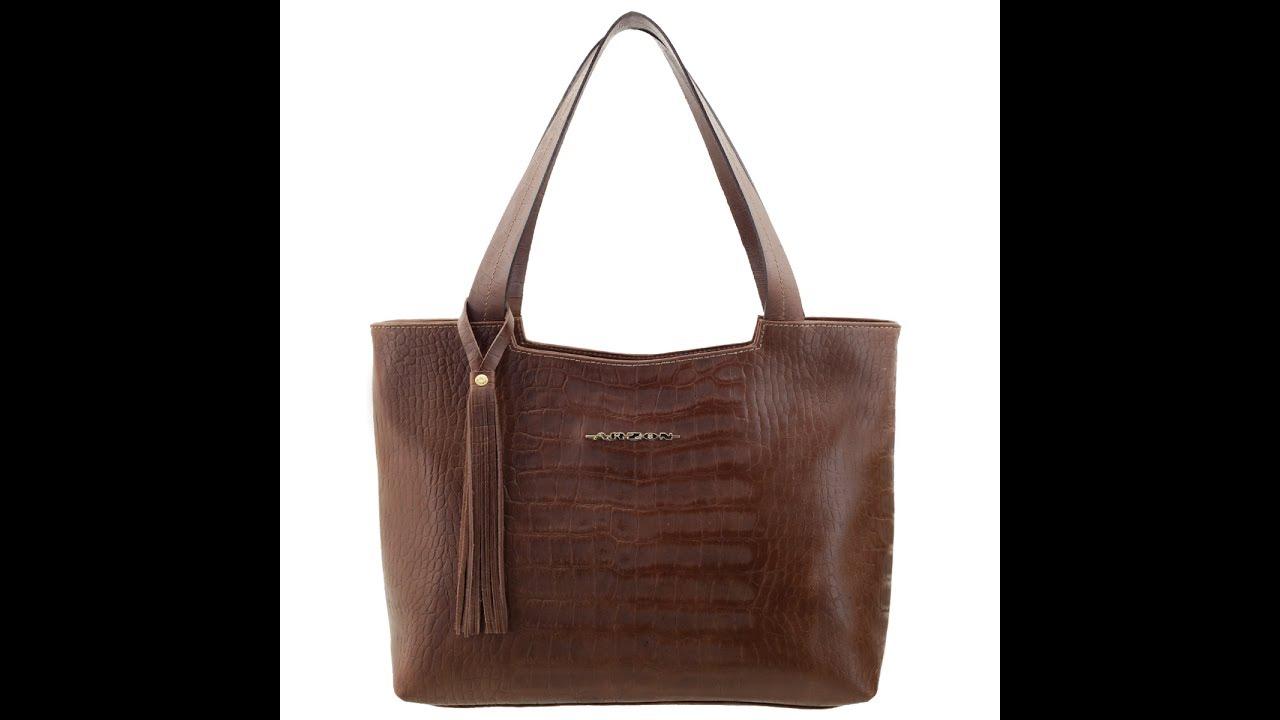 e2b479f2d Bolsa feminina de couro com duas divisórias e bolso externo. - YouTube