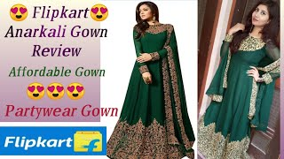 Flipkart Anarkali Gown Review Partywear Gown Green Heavy Embroidery Gown Affordable Gown