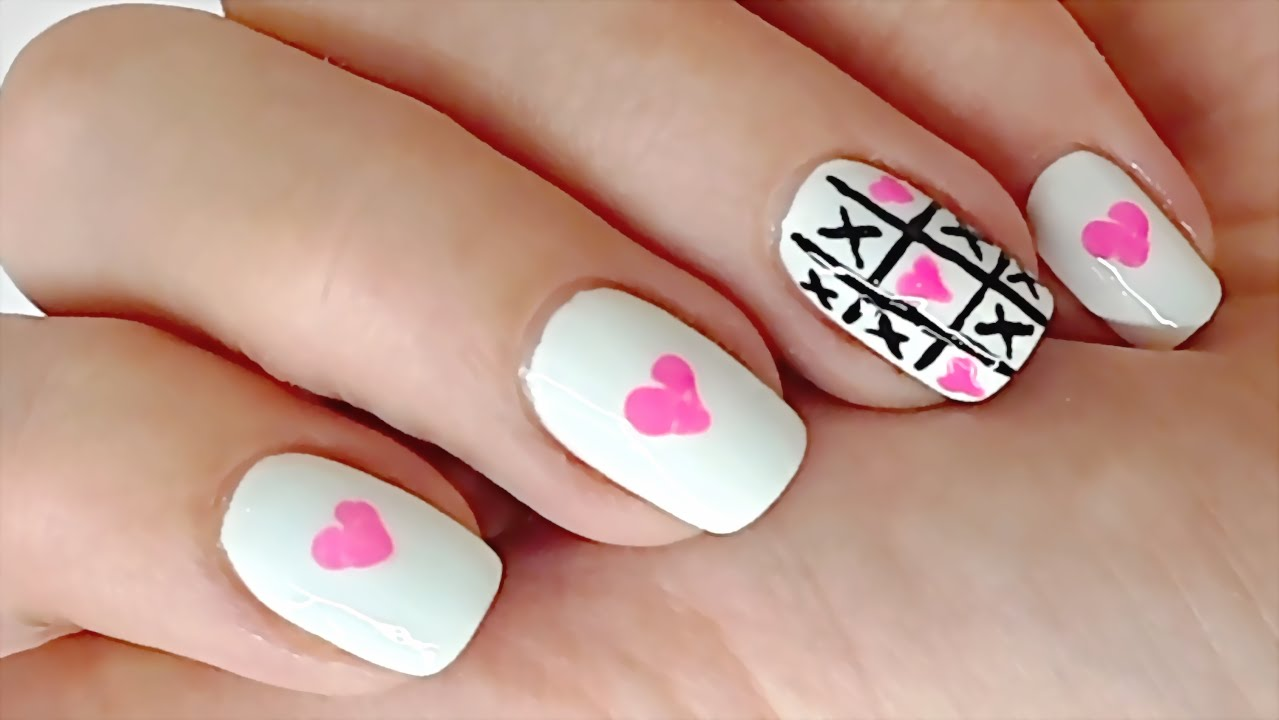Love Nail Art using Toothpick and Eyeliner - TIC TAC toe Nail Art ...