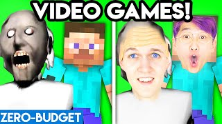 VIDEO GAMES WITH ZERO BUDGET! (Minecraft, Piggy, Granny, Among Us, FNAF, Hello Neighbor - LANKYBOX!)