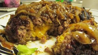 Cheese Stuffed Hamburger Steak With Gravy