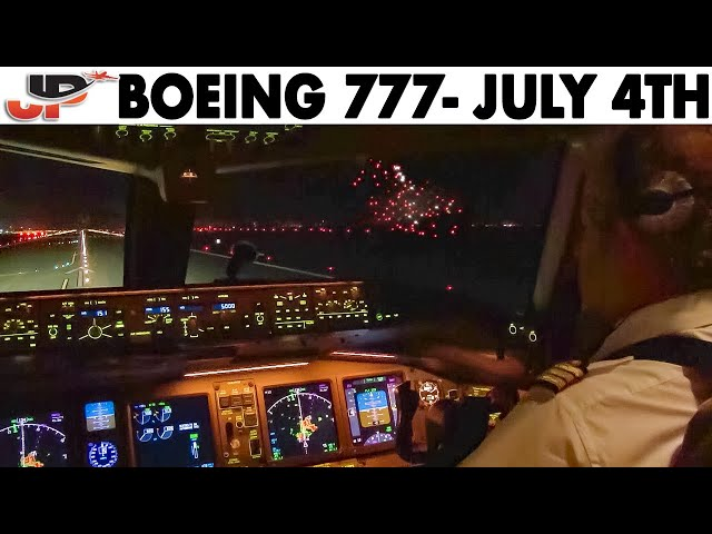 Piloting Boeing 777 out of New York JFK + July 4th Fireworks