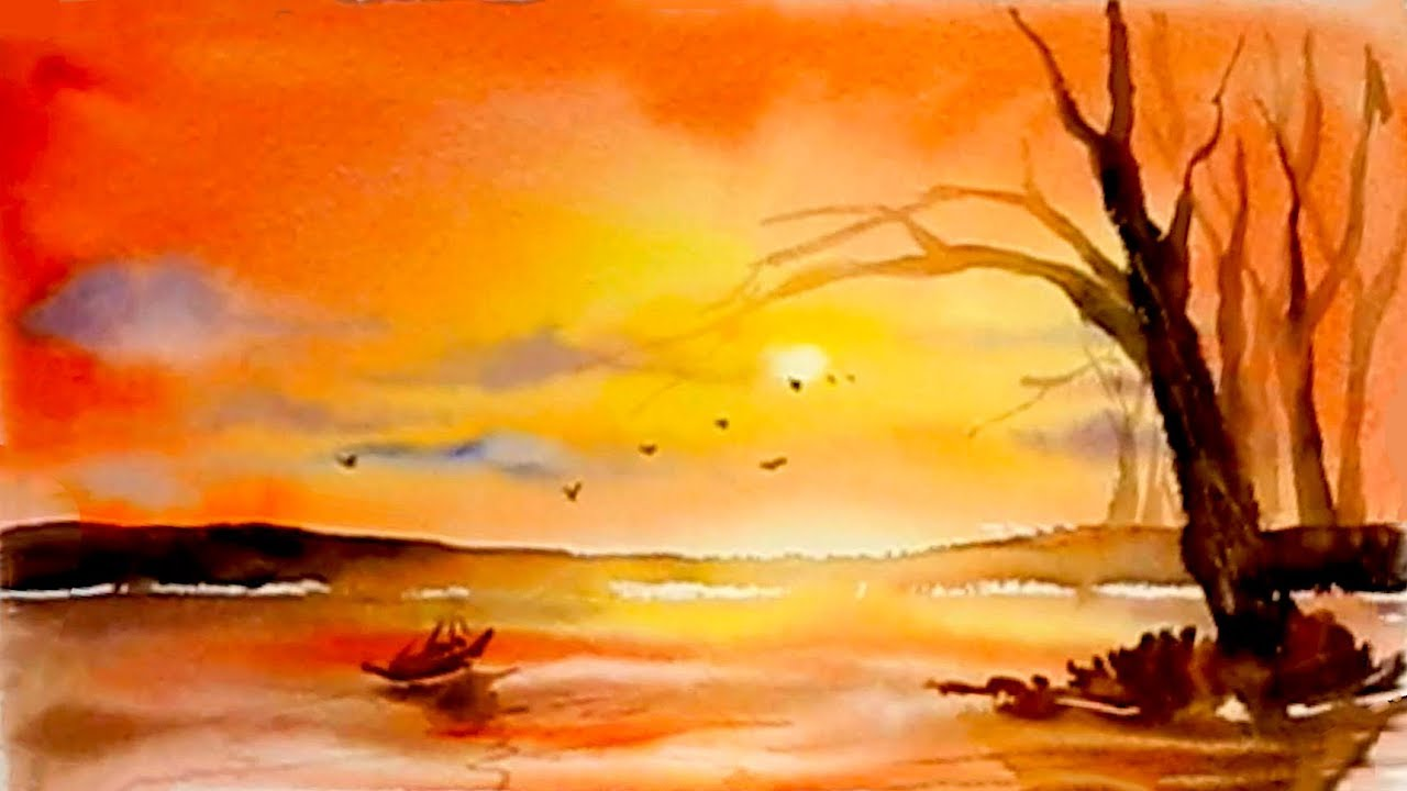 Simple Watercolor Lakeside Sunset Painting