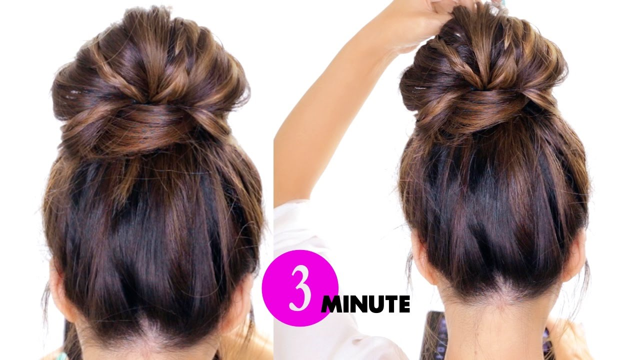 easy ways to style hair for school 3 minute bun with braids hairstyle easy 8858 | maxresdefault