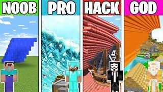 Minecraft Battle: TSUNAMI CHALLENGE! NOOB vs PRO vs HACKER vs GOD in Minecraft Animation