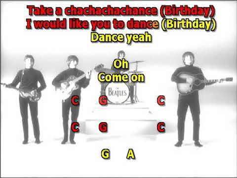 Birthday Beatles best karaoke instrumental no guitars  lyrics chords