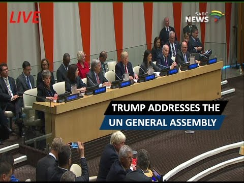 Donald Trump addresses the UN General Assembly