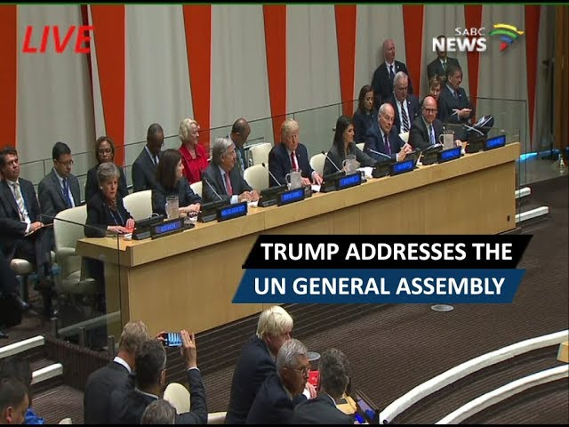 Donald Trump addresses the UN General Assembly