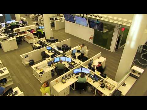 the newsroom at the new NPR headquarters in Washington