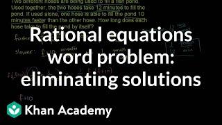 Applying rational equations 3 | Polynomial and rational functions | Algebra II | Khan Academy