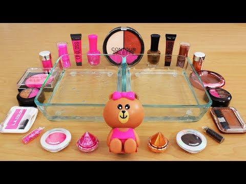 Pink Vs Brown- Mixing Makeup Eyeshadow Into Slime! Special Series 118 Satisfying Slime Video