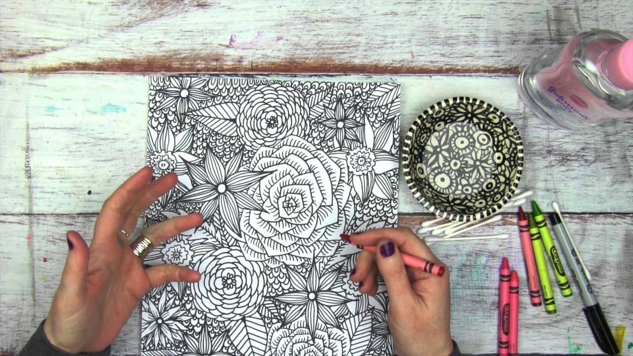 coloring with crayons and baby oil - YouTube