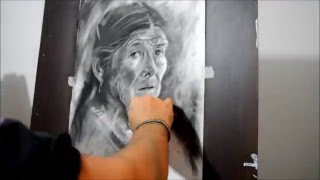 Dibujo en Carboncillo por Carlos Andrade  Colombia. How to draw with charcoal