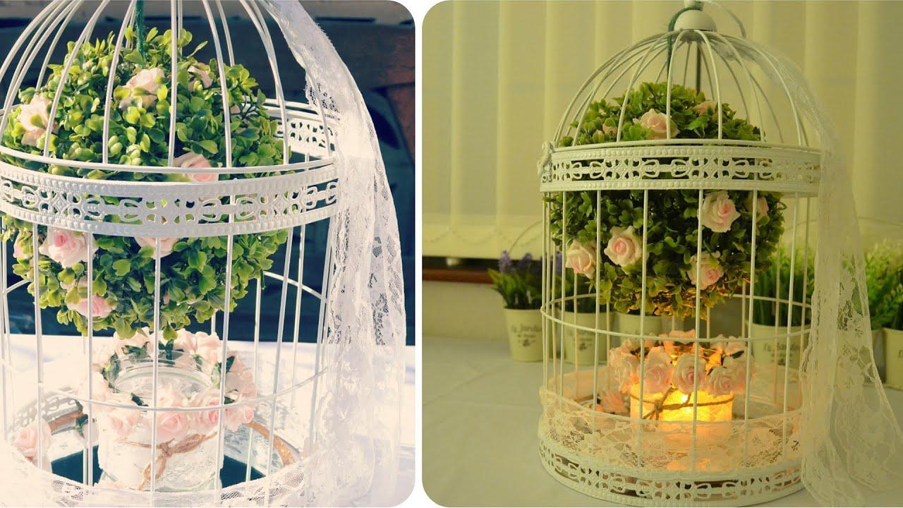 diy birdcage centerpiece floral decoration youtube. Black Bedroom Furniture Sets. Home Design Ideas