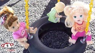Baby Alive Playpark Fun! Twisty Slide, Swings, Trampoline, Picnic, Wagon Ride and Diaper Change!
