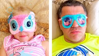Nastya and papa fun play at the theme park of Peppa toy