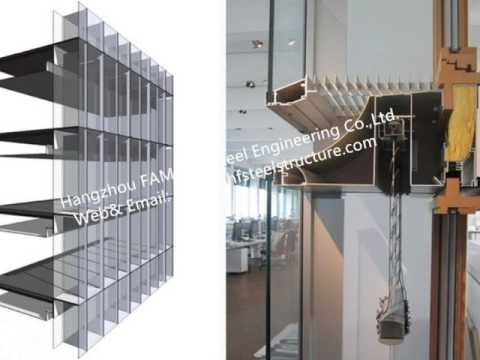 China Pre glazed Double Skin Unitized Glass Façade Curtain Wall Hidden Frame Design and Installation