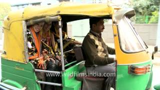 Riding in an auto rickshaw in India