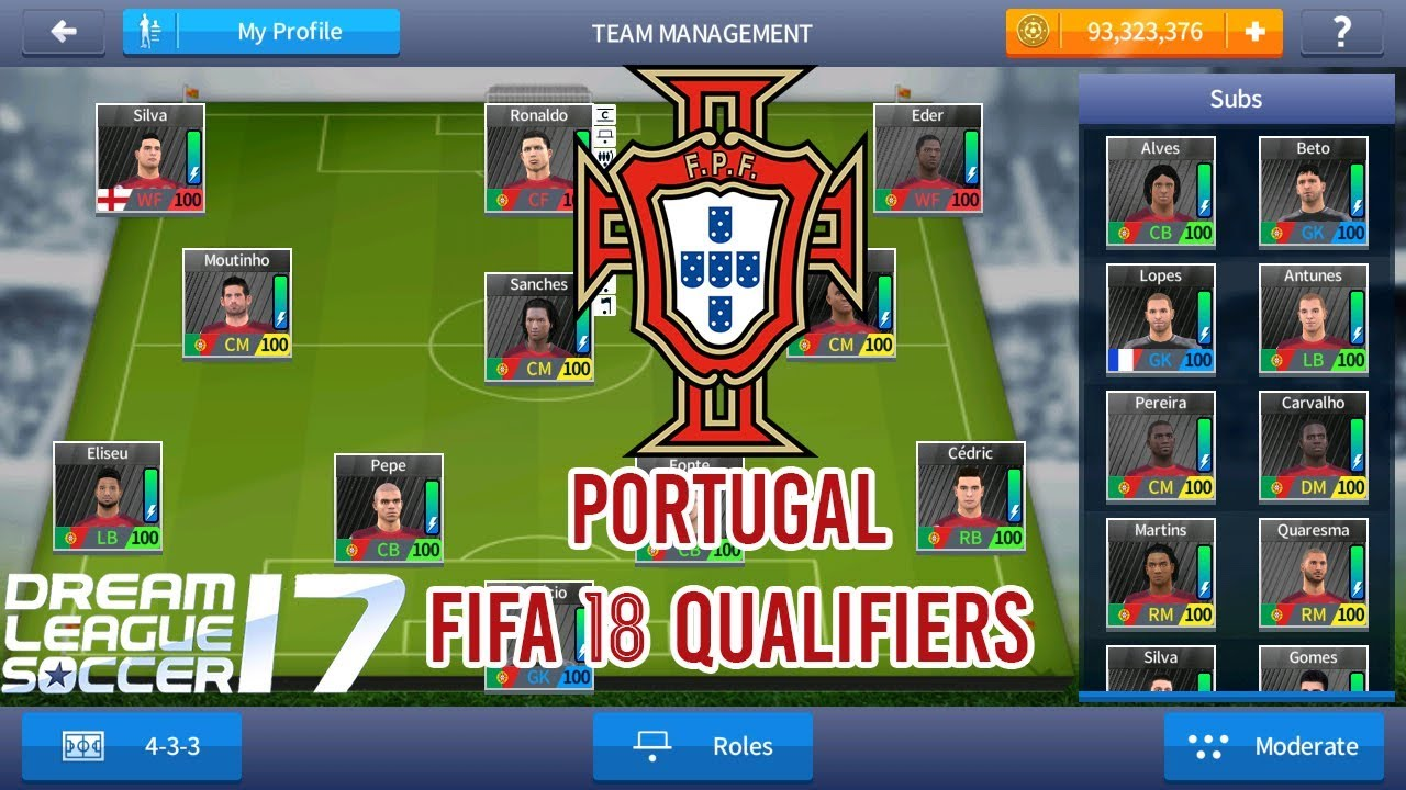 PORTUGAL ( FIFA 18 QUALIFIERS ) NATIONAL TEAM 2018 - DREAM LEAGUE SOCCER  2017 SAVE DATA MOD